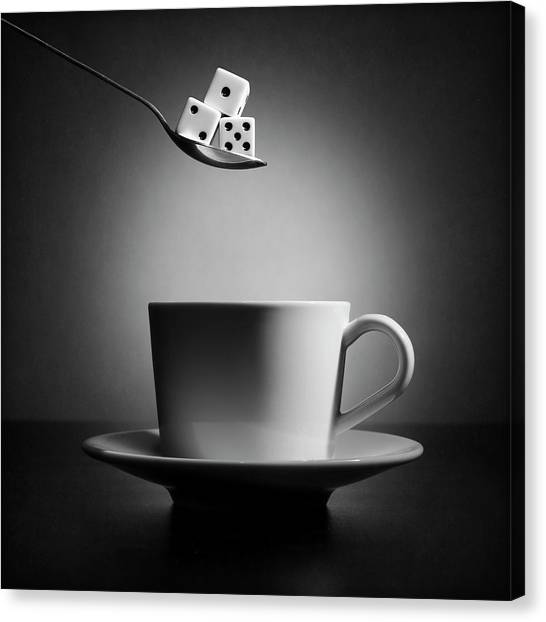 The Lucky Cup Of Coffee (version 2) Canvas Print by Victoria Ivanova