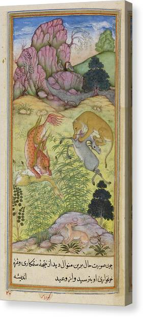 Fabled Canvas Print - The Lynx And The Lion by British Library