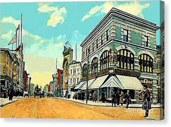 The Lyric Theatre In Jersey City N J Around 1910 Canvas Print by Dwight Goss