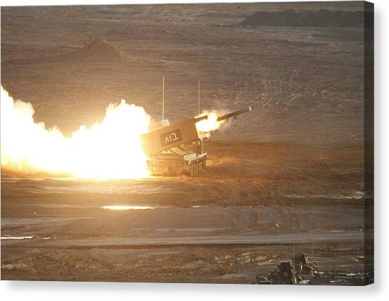 Negev Desert Canvas Print - The M270 Multiple Launch Rocket System by Ofer Zidon