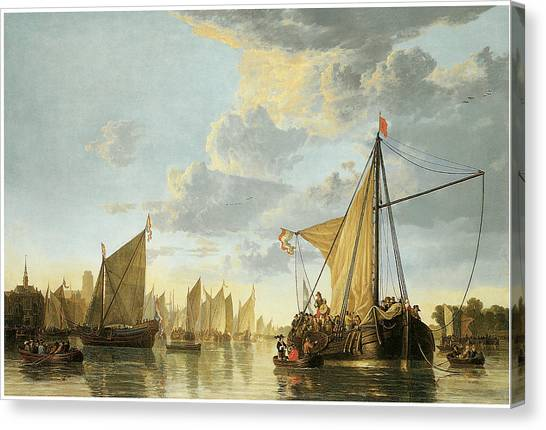 Maas Canvas Print - The Maas At Dordrecht by Aelbert Cuyp