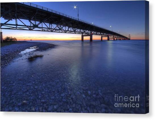 The Mackinac Bridge At Dusk Canvas Print by Twenty Two North Photography