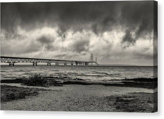 The Mackinac Bridge B W Canvas Print