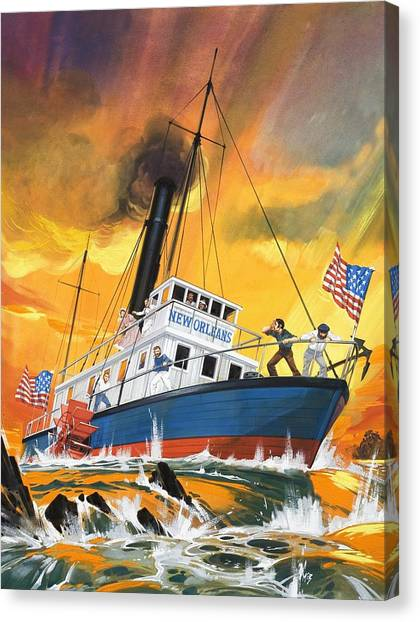 Mississippi River Canvas Print - The 'madmen' Of The Mississippi by English School