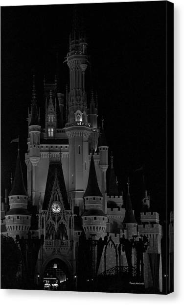 Walt disney boardwalk canvas print the magic kingdom castle in black and white walt disney