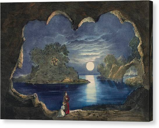 Island .oasis Canvas Print - The Magic Lake Circa 1856  by Aged Pixel