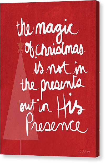 Religious Canvas Print - The Magic Of Christmas- Greeting Card by Linda Woods