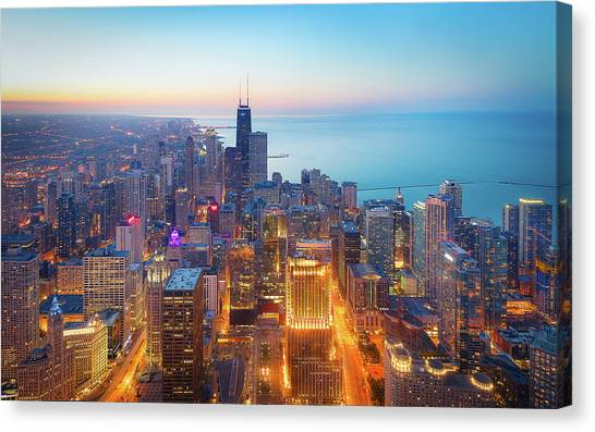 Chicago Canvas Print - The Magnificent Mile by Michael Zheng