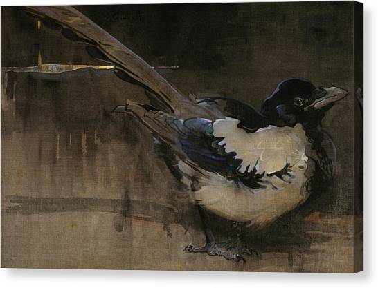 Magpies Canvas Print - The Magpie by Joseph Crawhall