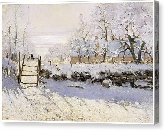 Magpies Canvas Print - The Magpie Snow Effect by Claude Monet