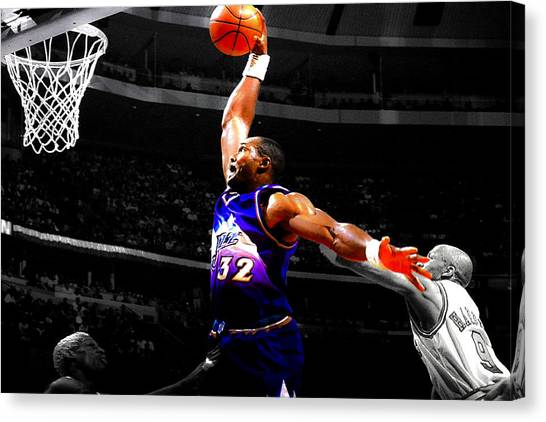 La Lakers Canvas Print - The Mailman Carl Malone Delivery by Brian Reaves