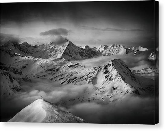 Mountain Climbing Canvas Print - The Man And His Dream by