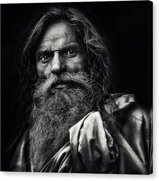 Old Man Canvas Print - The Man From Agra by Piet Flour