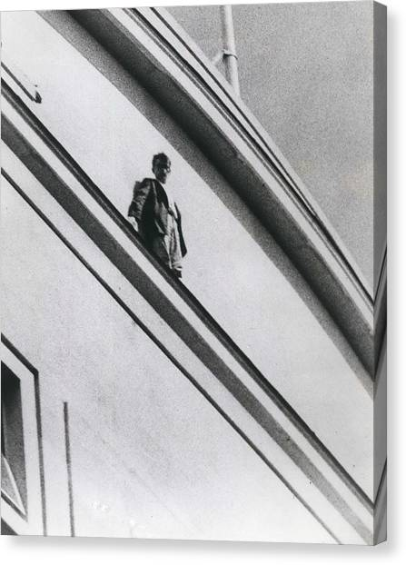 The Man In Love Is Saved From A Parapet Canvas Print by Retro Images Archive