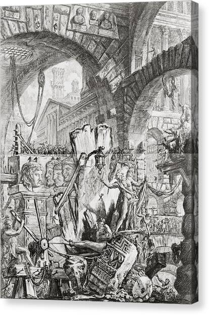 Dungeons Canvas Print - The Man On The Rack Plate II From Carceri D'invenzione by Giovanni Battista Piranesi