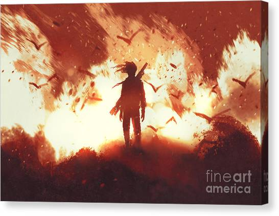 The Man With A Gun Standing Against Canvas Print by Tithi Luadthong