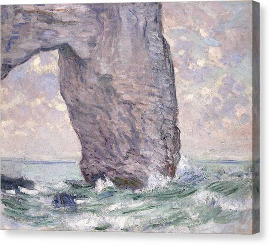 Etretat Canvas Print - The Manneporte Seen From Below by Claude Monet