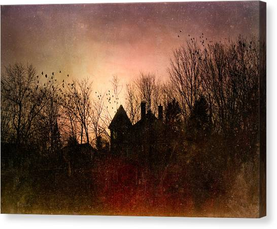 Impressionistic Canvas Print - The Mansion Is Warm At The Top Of The Hill by Bob Orsillo