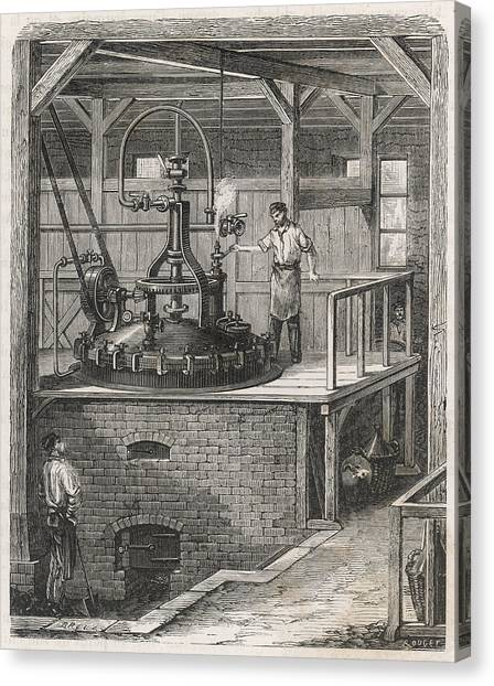 Dye Canvas Print - The Manufacture Of Aniline Red  Dye by Mary Evans Picture Library