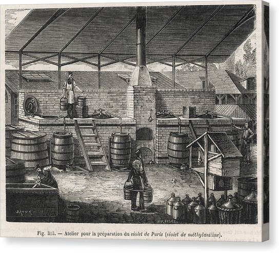 Dye Canvas Print - The Manufacture Of  Methyaniline Violet by Mary Evans Picture Library