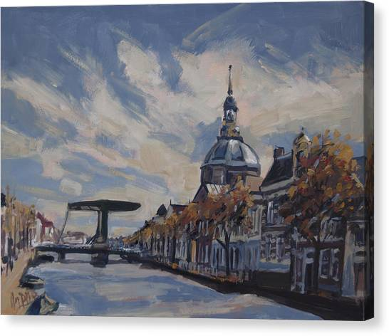 The Mare Church And Mare Bridge Leiden Canvas Print