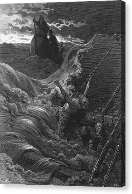 English And Literature Canvas Print - The Mariner As His Ship Is Sinking Sees The Boat With The Hermit And Pilot by Gustave Dore