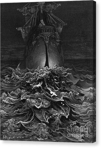 English And Literature Canvas Print - The Mariner Gazes On The Ocean And Laments His Survival While All His Fellow Sailors Have Died by Gustave Dore