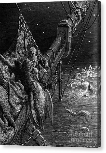 Albatross Canvas Print - The Mariner Gazes On The Serpents In The Ocean by Gustave Dore
