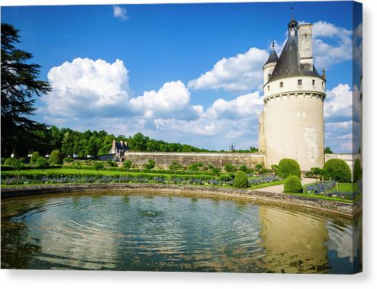 Chenonceau Castle Canvas Print - The Marques Tower And Fountain by Russ Bishop