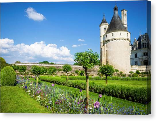 Chenonceau Castle Canvas Print - The Marques Tower And Garden by Russ Bishop