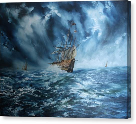 The Mary Rose And Fleet Canvas Print