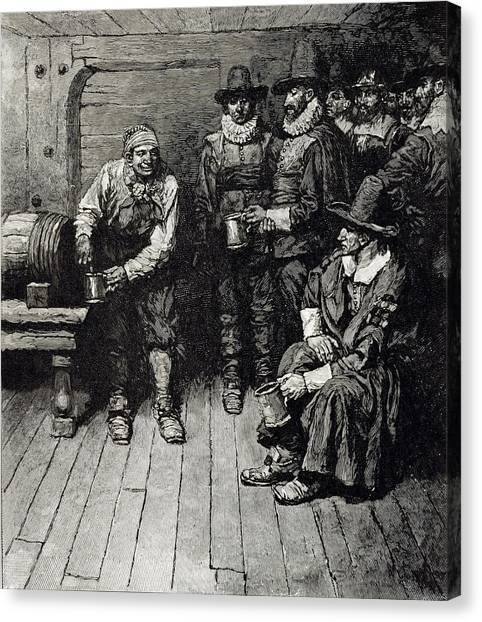 Pilgrims Canvas Print - The Master Caused Us To Have Some Beere, From Harpers Magazine, 1883 Litho by Howard Pyle