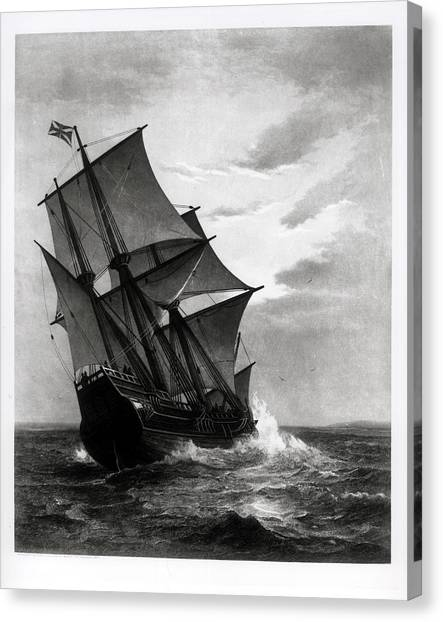 Pilgrims Canvas Print - The Mayflower, Engraved And Pub. By John A. Lowell, Boston, 1905 Engraving Bw Photo by Marshall Johnson