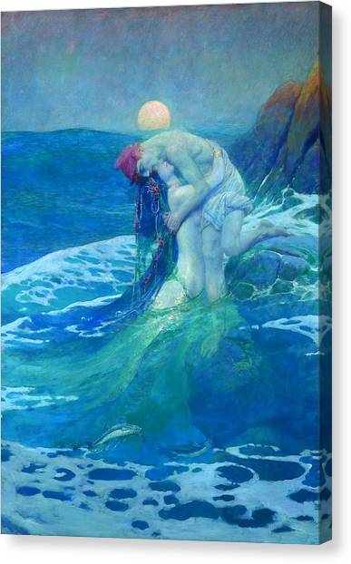 Canvas Print featuring the painting The Mermaid by Howard Pyle