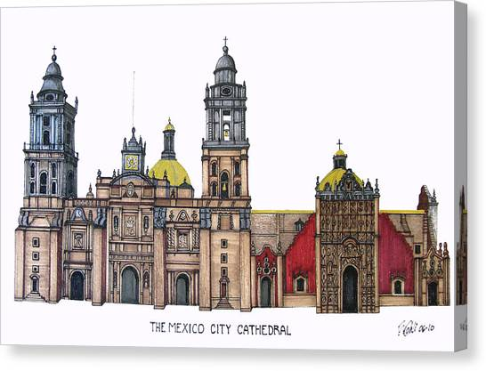 The Mexico City Cathedral Canvas Print by Frederic Kohli