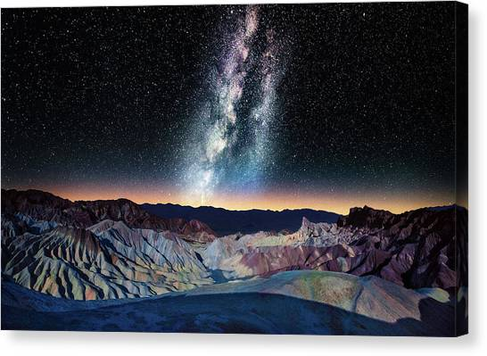 The Milky Way Over Zabriskie Point Canvas Print by Matt Anderson Photography
