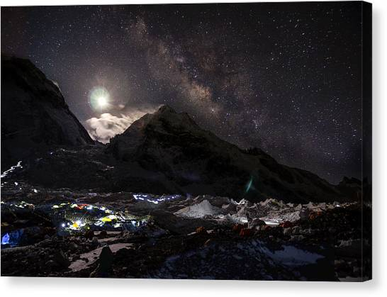Mount Everest Canvas Print - The Milky Way Rises Above The Flanks by Jake Norton