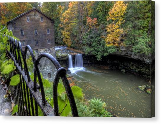 The Mill And Falls At Mill Creek Park Canvas Print