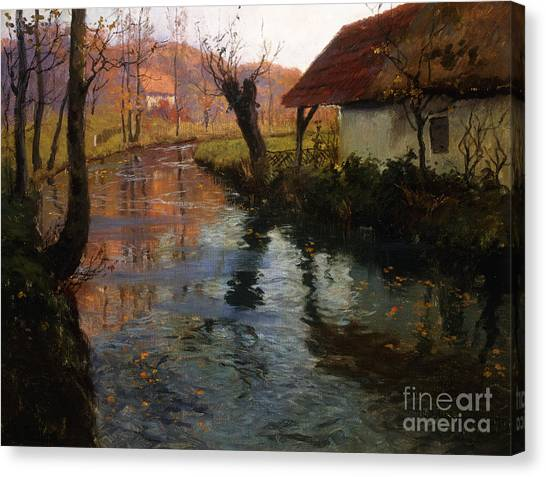 Mills Canvas Print - The Mill Stream by Fritz Thaulow