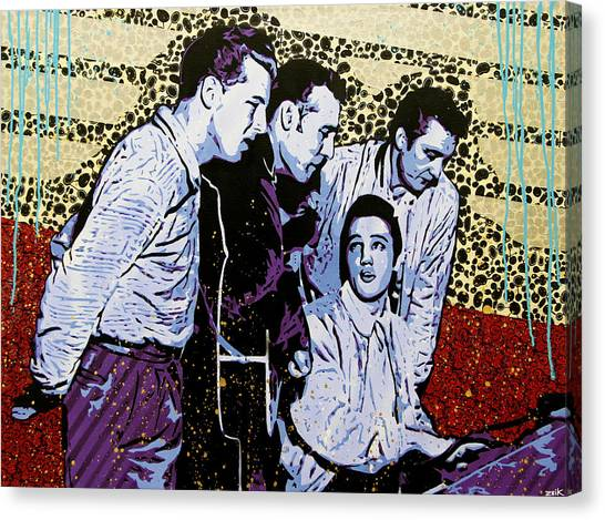 Johnny Cash Canvas Print - The Million Dollar Quartet  by Bobby Zeik