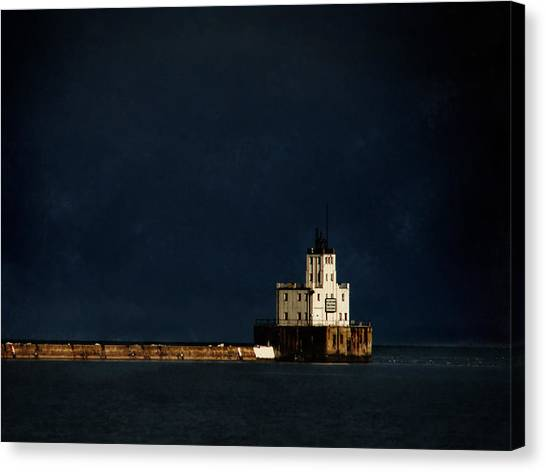 The Milwaukee Breakwater Lighthouse Canvas Print by David Blank