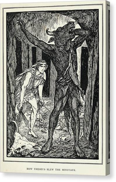 Minotaurs Canvas Print - The Minotaur, The Monster Kept  By King by Mary Evans Picture Library