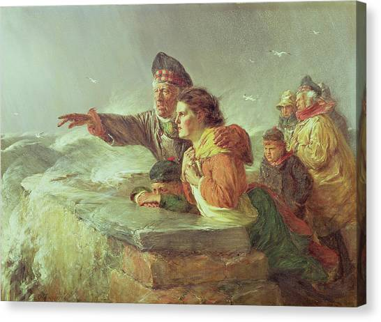 Worried Canvas Print - The Missing Boat, C.1876 by Erskine Nicol