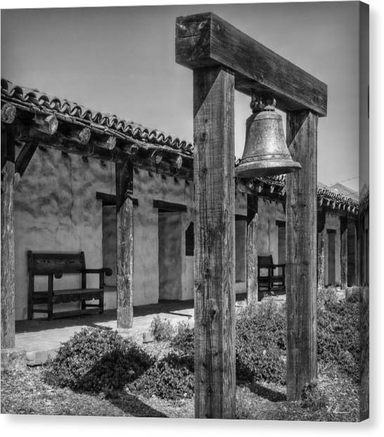The Mission Bell B/w Canvas Print