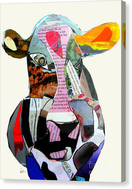 Mixed-media Canvas Print - The Mod Cow by Bri Buckley