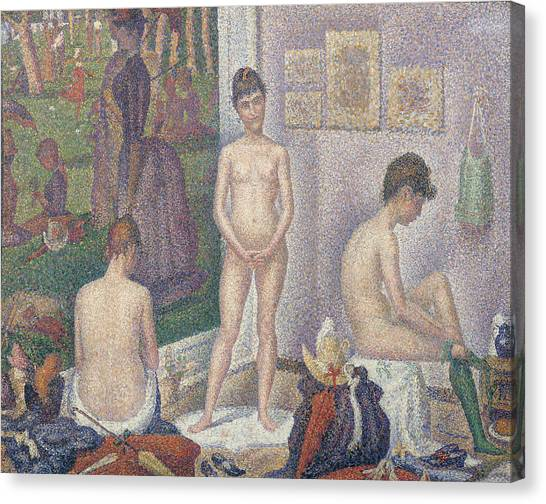 Post-impressionism Canvas Print - The Models by Georges Pierre Seurat