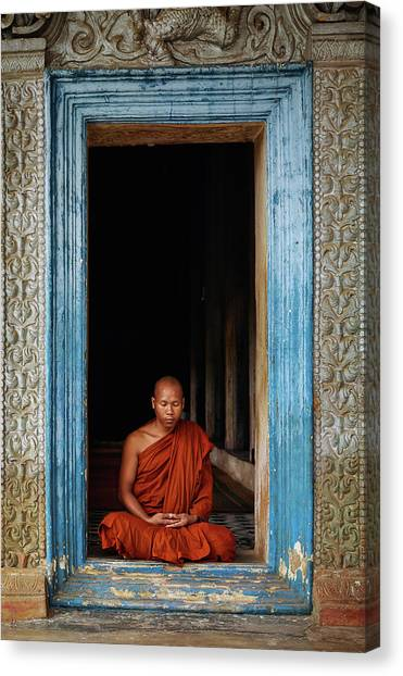 Monks Canvas Print - The Monks Of Wat Bo by Leah Kennedy