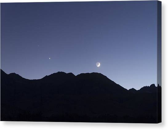 The Moon And Venus Over The Sierras Canvas Print
