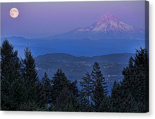 The Moon Beside Mt. Hood Canvas Print