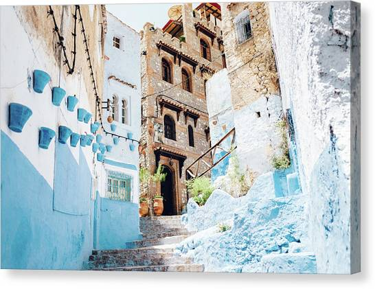 The Moroccan Blue City, Chefchaouen Canvas Print by Oscar Wong